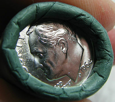1964 P Obw Original Bank Wrapped Roll Bu Uncirculated Silver Roosevelt Dimes