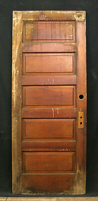 """2 avail 32""""x79"""" Antique Vintage Interior Solid Wood Wooden Door 5 Stacked Panels"""