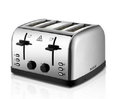 Maxim 4 Slice Automatic Toaster Stainless Steel Extra Wide Slots