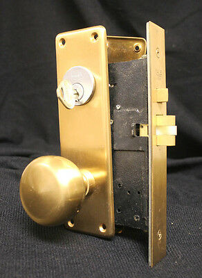 Vintage Solid Bronze Exterior Deadbolt Entry Door Lockset Knobs Plates Lock Key