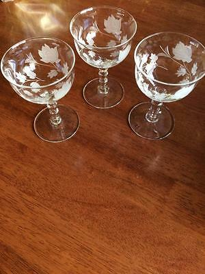 3 x VINTAGE RETRO 1950S FLORAL ETCHED OPEN SHERRY GLASSES BEAUTIFUL STEMS