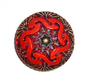 """Pretty Red w/ Gold & Black Czech Hand Painted Lacy Glass Shank Button -  1-5/8"""""""