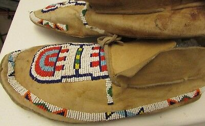 "OLD PLAINS BEADED MOCCASINS (Cheyenne? ) 10"" great colors & patina"