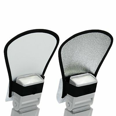 Two Sided Bounce Flash Diffuser with White / Silver Reflector and Elastic Strap