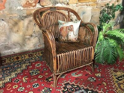 Vintage Split Cane Bamboo Armchair~Lounge Chair Sofa~Indoors or Outdoors