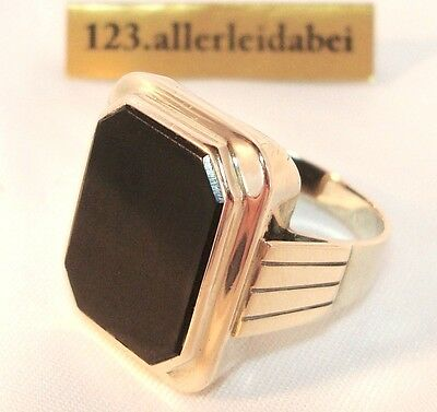 Imposanter Onyx Siegelring 333 er Rotgold Rosegold Gold Ring / AU 020