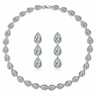 MASOP Water Drop Crystal Statement Choker Necklace Earrings Sets for Women