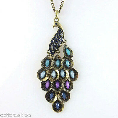 Women Vintage Style Bronze Blue Peacock Stone Multi Sequin Pendant Long Necklace
