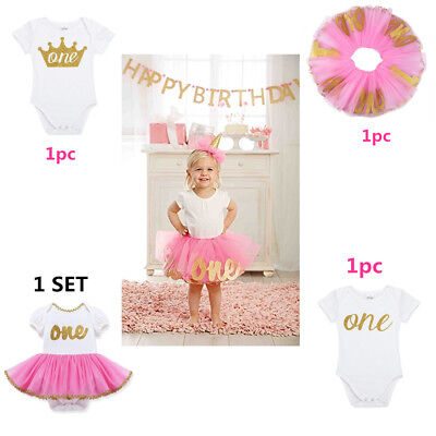 e71c16940214 Baby Girls First Birthday Romper Dress Princess Tutu Skirt Party Pageant  Clothes