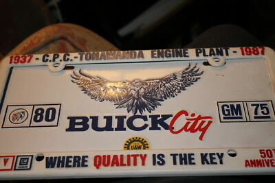 Buick City license plate, frame from 1983 celebrating GM 75 years Buick 80 years