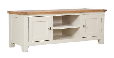 Dorset Oak TV Cabinet Unit Solid Plasma Bench Pine in Painted French Ivory Cream