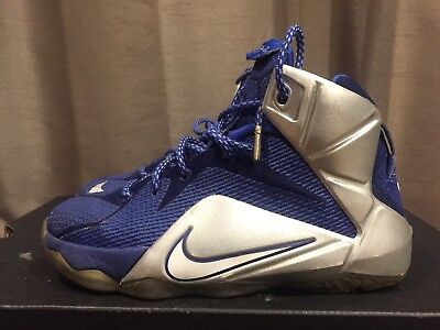 2014 Youth Nike LeBron XII 12 What If Dallas Royal Silver Size 3.5Y Used Rare DS