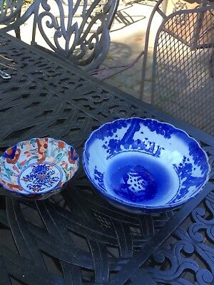 2 ANTIQUE JAPANESE IMARI PORCELAIN MEIJI PERIOD RICE BOWLs, LOT