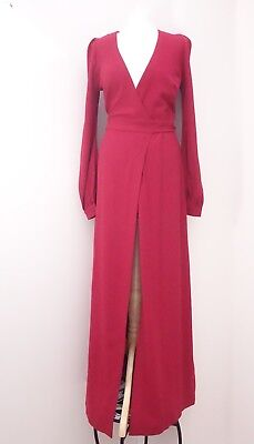 Stunning Ossie Clark London Red Buttoned Cuff Long Sleeved Gown Size 8 new