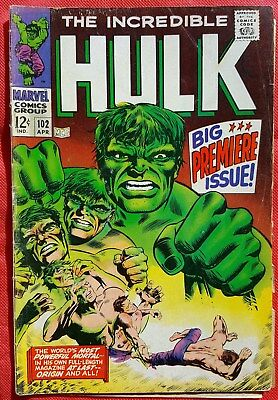 INCREDIBLE HULK 102 MARVEL SILVER AGE 1968 Big Premiere Issue Origin Retold vg/f