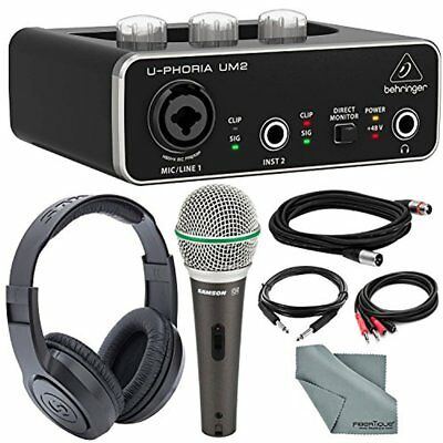 Behringer U-PHORIA UM2 2x2 USB Audio Interface and Bundle