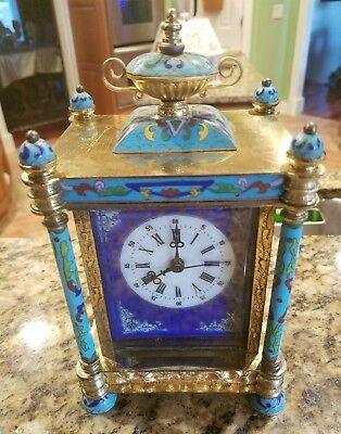 Chinese Vintage Cloisonne Table Clock, Hans wind, works