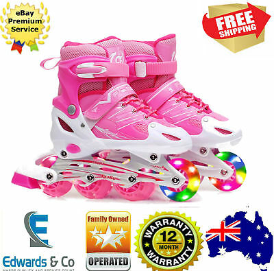 Girls Adjustable Skates Inline Rollerblades Junior Kids Power Battery LED