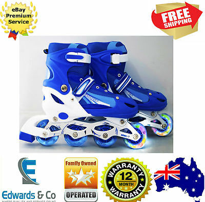 Boys Girls Adjustable Skates Inline Rollerblades Junior Kids Power Battery LED