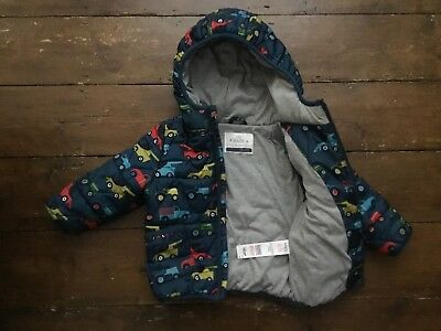 M&s Baby Boy 12-18 Months Blue Padded Puffa Winter Hooded Jacket Coat Cars Vgc