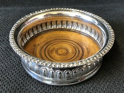 Vintage Silver Plated Wine Coaster / Bottle Stand - Decorative Rim #GA