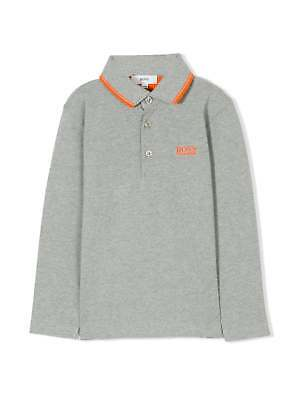 Hugo Boss Boys Grey Marl Piqué Cotton Polo Shirt