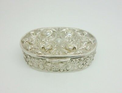 Vintage French? Sterling Silver Ornate Foilage Relief Trinket/Pill/Snuff Box