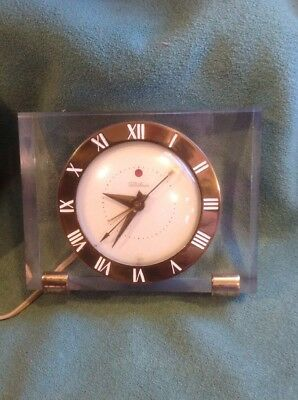 Vintage GE General Electric USA Telechron Lucite Alarm Clock 7HA141 Works