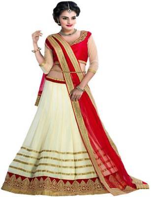 Designer Red and golden Net Embroidered Semi-stitched Lehenga Choli