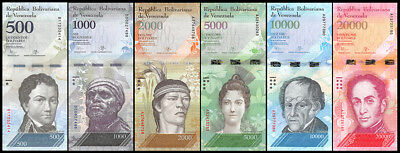 Venezuela 500 - 20,000 (20000) Bolivares 6 Pieces (PCS) Full Set,2016,P-NEW,UNC