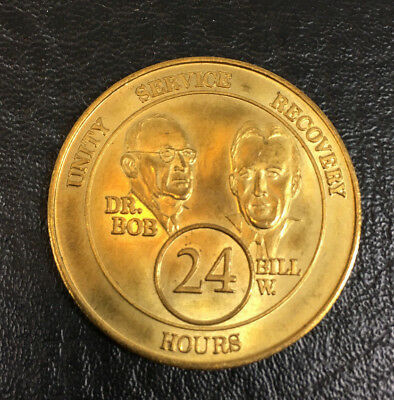 AA Alcoholics Anonymous Founders 24 Hour Key Chain Bill W Dr Bob  Chip