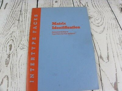 Matrix Identification Numerical Listing Type Faces By Font Booklet Intertype Co.