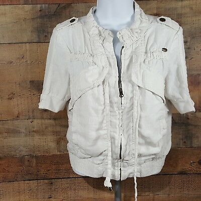 Girls Guess Linen Jacket Size Small White Zip Up