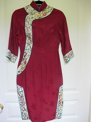 Red Floral Chinese Cheongsam Silk  Dress With Embroidered Trim. Size S. Vgc