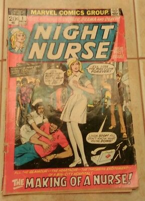 Marvel Night Nurse 1 Linda Carter 1972 Low grade Rare