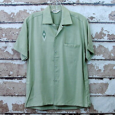 Vtg. 50's / 60's Davinci California Rayon Shirt Green Horse Head Chest Small S