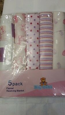 5 pack flannel reciving blanket