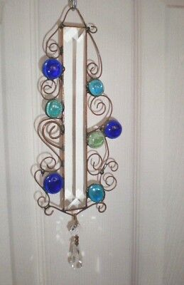 *Stained Glass Blue,Copper,Beveled Glass & Crystal Suncatcher Window Ornaments*