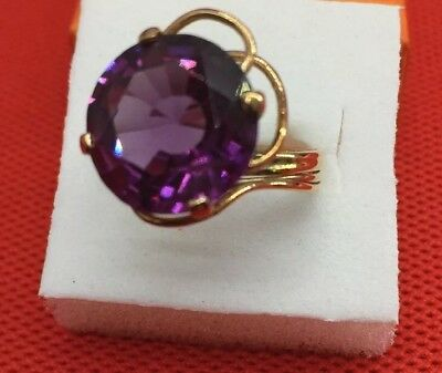 VTG Antique Women's 14k Solid Yellow Gold Amethyst Gemstone Cocktail Ring