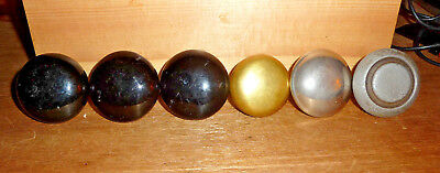 Lot of 6 Antique Door Knobs: 3 Black Porcelain,1 Brass, 1 Steel, 1 Chrome