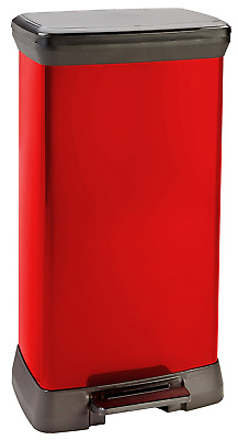 Curver 50 L Metal Effect Plastic Pedal Touch Deco Bin, Red