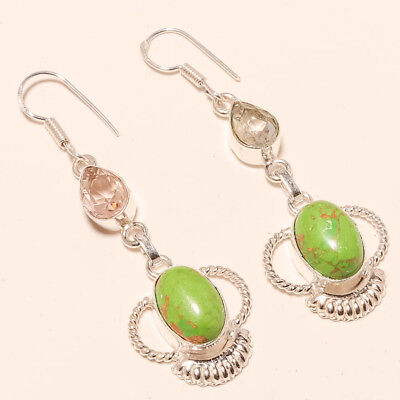 """Green Copper Turquoise,morganite Gemstone 925 Silver Jewelry Earring 2.73"""""""