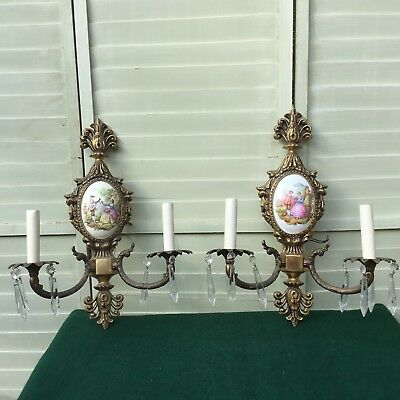 Vintage French Porcelain Brass and Crystal Wall Sconces