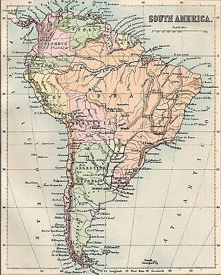 Map of South America 1893  Original Antique