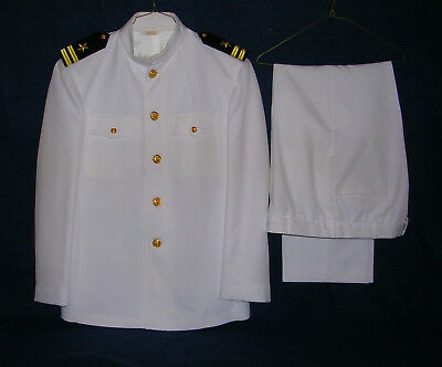 US Navy Officer Lieutenant 03 Service Dress Summer White Choker Uniform 46R 38R