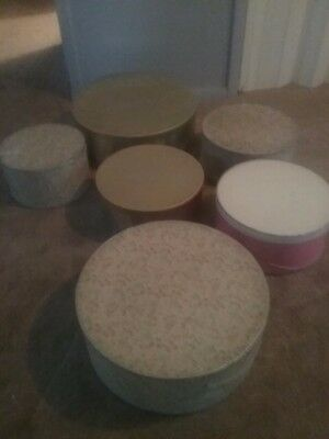 lot of 6 assorted hat boxes