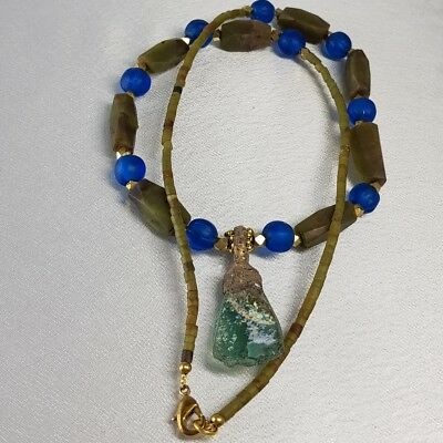 Wonderful Ancient Roman Glass Pendant & Jade Stone  Necklace # G1