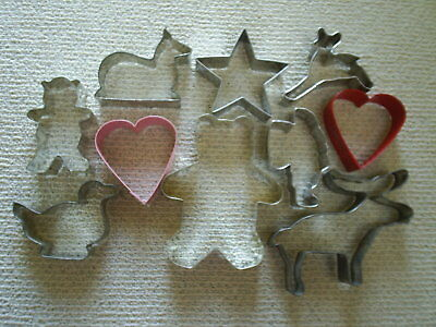 Lot of 10 tin / metal Cookie Cutters ~~ Gingerbread man, Santa, Reindeer & more