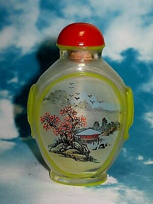 Vintage Chinese Inside Hand Painted Peking Glass Snuff Bottle