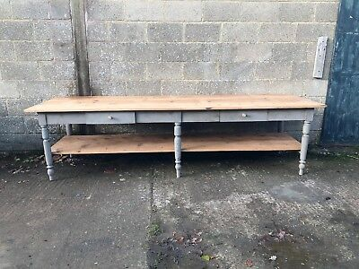 2.8m Long, French Antique Drapers/bakers Table, Kitchen Island, Vintage